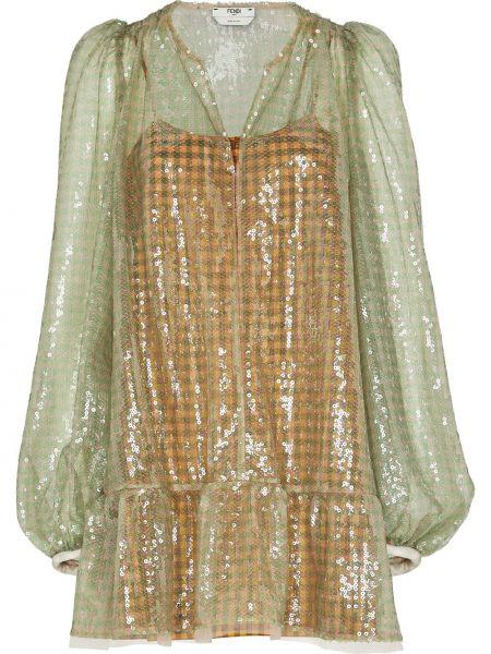Платье с пайетками с буфами Fendi