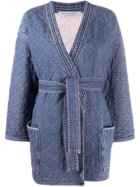 Синее стеганое длинное пальто с вырезом Philosophy Di Lorenzo Serafini