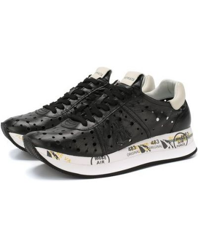 Кожаные кроссовки черные свободного кроя Premiata