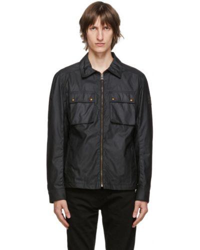 Bawełna czarny długa kurtka z mankietami prążkowany Belstaff