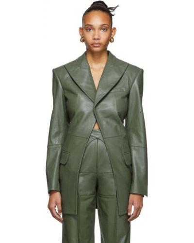 Зеленый кожаный пиджак с карманами с воротником Situationist