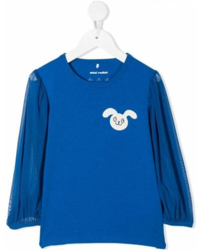 Niebieski t-shirt z długimi rękawami Mini Rodini