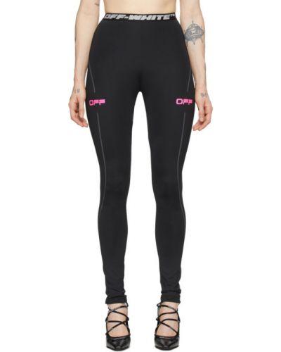 Czarny legginsy z paskami rozciągać w paski Off-white