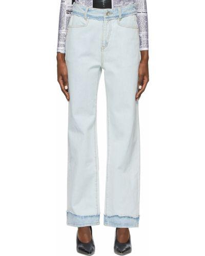 Białe jeansy z paskiem srebrne Ader Error