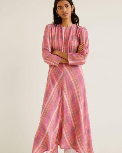 Платье миди с поясом в клетку Mango