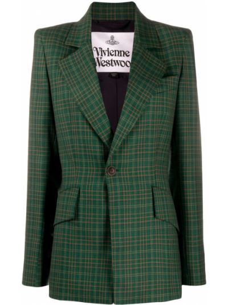 Однобортный удлиненный пиджак в клетку с карманами Vivienne Westwood Anglomania