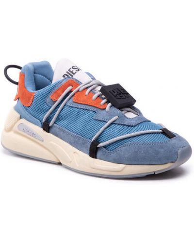 Niebieskie sneakersy koronkowe Diesel