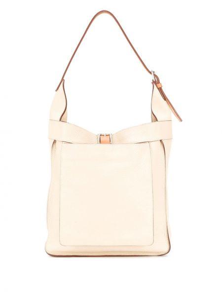 Кожаная сумка бежевый с пряжкой Hermès