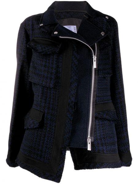 Синий классический пиджак твидовый с воротником Sacai