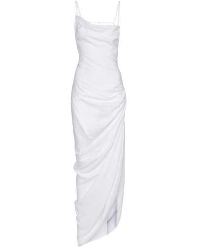 Biały długo sukienka z wiskozy Jacquemus