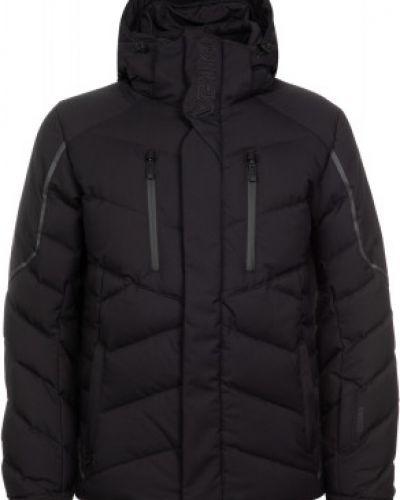 Пуховая прямая черная куртка с перьями VÖlkl
