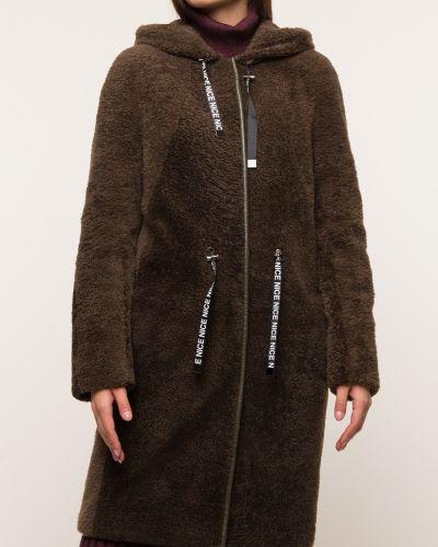 Прямое коричневое пальто с капюшоном Aliance Fur