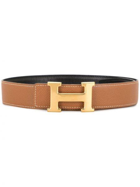 Коричневый кожаный ремень с пряжкой Hermès