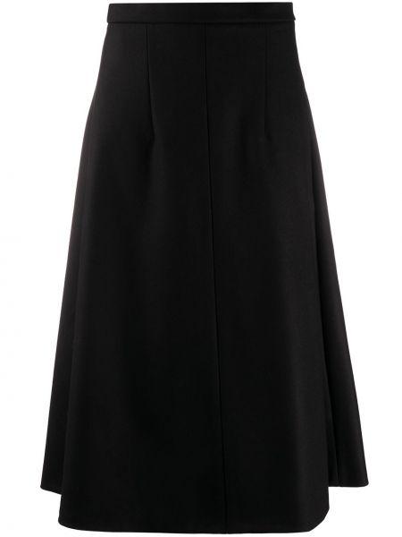 Черная расклешенная с завышенной талией юбка с карманами Rochas