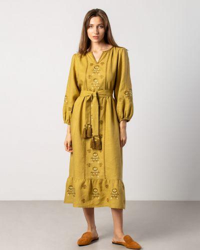 Этническое желтое платье оверсайз Etnodim