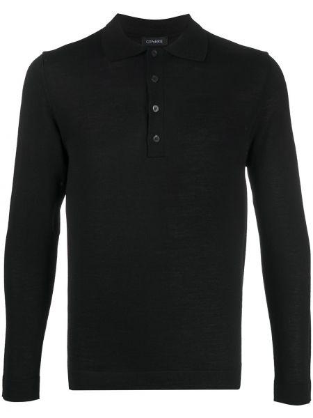 Шерстяная черная рубашка с воротником с длинными рукавами Cenere Gb