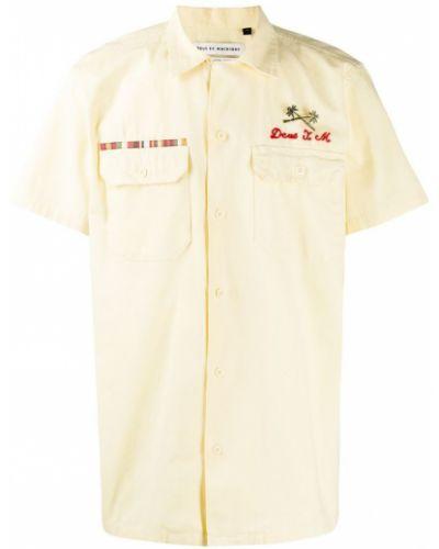 Свободная бежевая классическая рубашка с короткими рукавами на пуговицах Deus Ex Machina