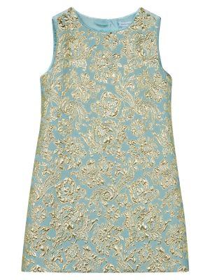 Платье жаккардовое - синее Dolce & Gabbana Kids