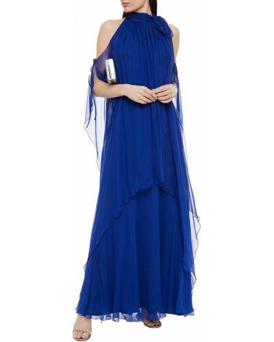 Niebieska sukienka wieczorowa z szyfonu na obcasie Alberta Ferretti