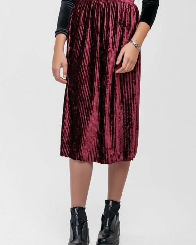 Плиссированная юбка бордовый красный Sfn