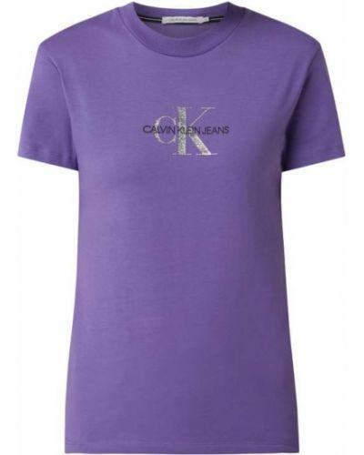 Bawełna fioletowy koszula jeansowa z dekoltem okrągły Calvin Klein Jeans