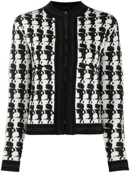 Czarna długa kurtka z długimi rękawami z akrylu Karl Lagerfeld