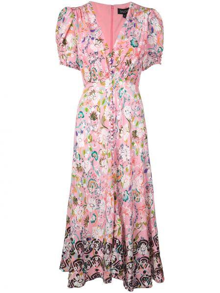 Платье мини с цветочным принтом с V-образным вырезом Saloni