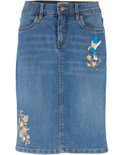 Джинсовая юбка с вышивкой Bonprix