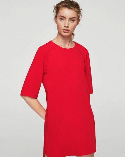 Красное платье прямое Mango