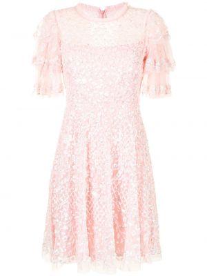 Розовое платье со вставками Needle & Thread