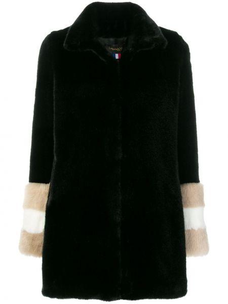 С рукавами черное акриловое пальто с капюшоном La Seine & Moi