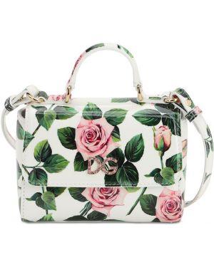 Biała torebka skórzana z printem Dolce And Gabbana
