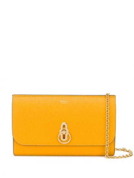 Желтая кожаная сумка на цепочке на молнии Mulberry