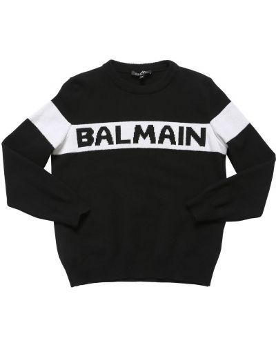 Prążkowany czarny z kaszmiru sweter Balmain