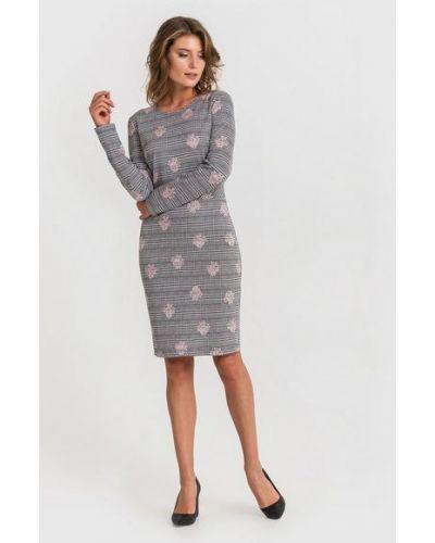Повседневное платье из вискозы с поясом до середины колена Vovk