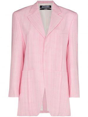 Розовый удлиненный пиджак оверсайз с карманами Jacquemus