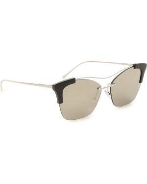 Czarne okulary srebrne Prada