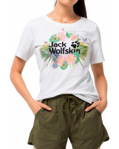 Хлопковая белая футболка Jack Wolfskin