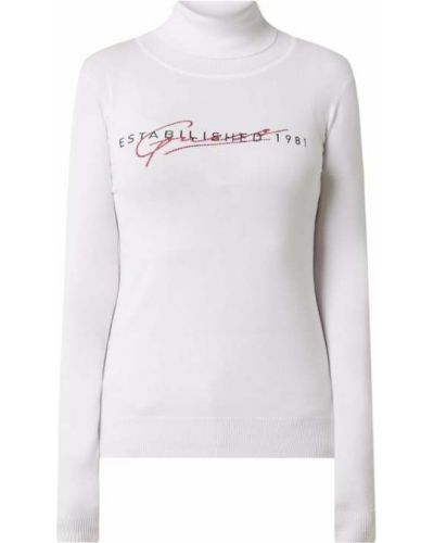 Biały sweter z kołnierzem z wiskozy Guess