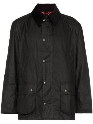 Черная куртка на молнии с воротником вельветовая Barbour
