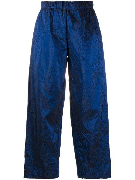 Синие шелковые прямые со стрелками брюки Daniela Gregis