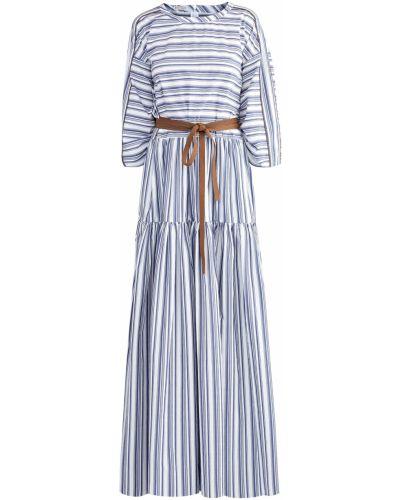 Платье макси в полоску из поплина Brunello Cucinelli