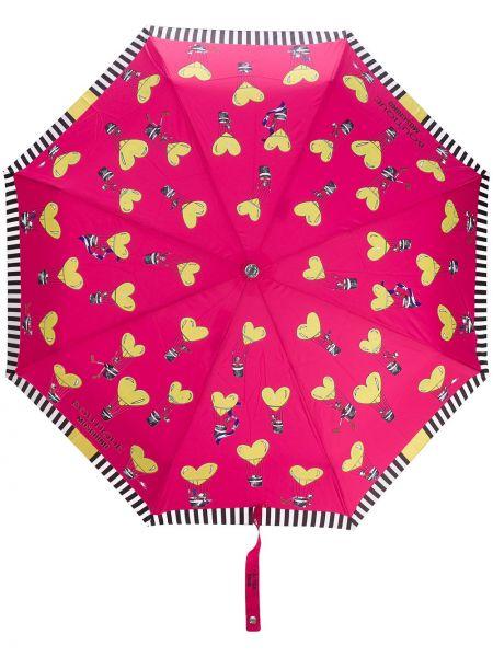 Różowy parasol w paski Moschino