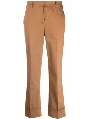 Хлопковые прямые укороченные брюки стрейч Incotex