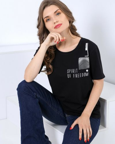 Повседневная хлопковая футболка свободного кроя с принтом виотекс