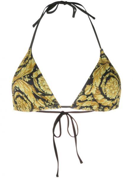Пляжный желтый лиф с завязками Versace