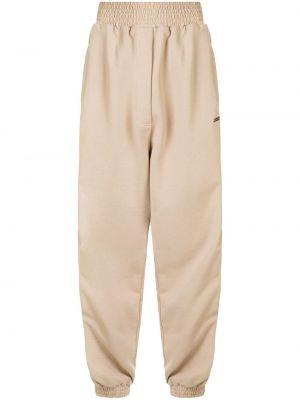 Хлопковые коричневые спортивные брюки с поясом с высокой посадкой Marcelo Burlon. County Of Milan