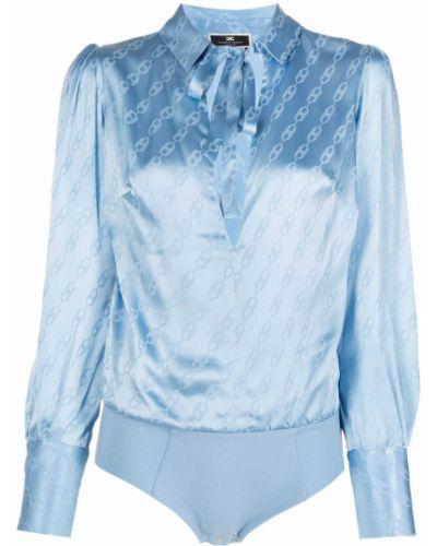 Шелковая блузка - синяя Elisabetta Franchi