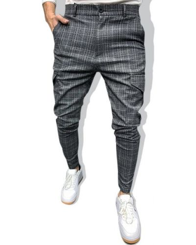 Повседневные серые брюки в клетку Zaful