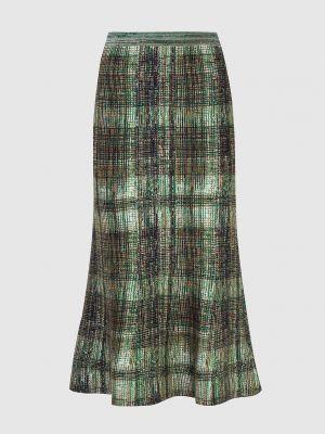 Шелковая юбка миди - зеленая Victoria Beckham